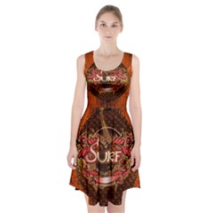 Surfing, Surfboard With Floral Elements  And Grunge In Red, Black Colors Racerback Midi Dress