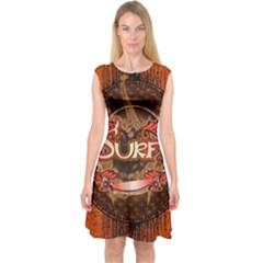 Surfing, Surfboard With Floral Elements  And Grunge In Red, Black Colors Capsleeve Midi Dress