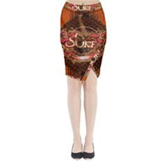 Surfing, Surfboard With Floral Elements  And Grunge In Red, Black Colors Midi Wrap Pencil Skirt