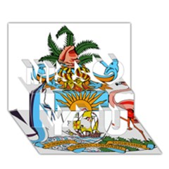 Coat of Arms of the Bahamas Miss You 3D Greeting Card (7x5)