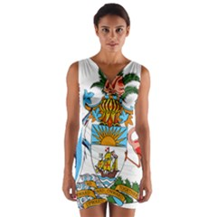 Coat of Arms of the Bahamas Wrap Front Bodycon Dress