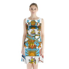 Coat of Arms of the Bahamas Sleeveless Waist Tie Dress