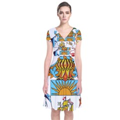 Coat Of Arms Of The Bahamas Short Sleeve Front Wrap Dress