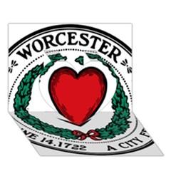 Seal of Worcester, Massachusetts Heart 3D Greeting Card (7x5)