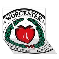Seal of Worcester, Massachusetts Clover 3D Greeting Card (7x5)