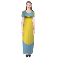 Flag of Palau Short Sleeve Maxi Dress