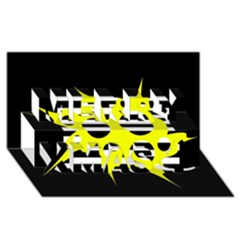Yellow abstraction Merry Xmas 3D Greeting Card (8x4)