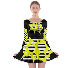Yellow abstraction Long Sleeve Skater Dress