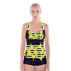 Yellow Abstraction Boyleg Halter Swimsuit