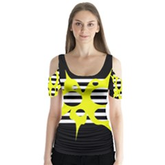 Yellow abstraction Butterfly Sleeve Cutout Tee