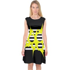 Yellow abstraction Capsleeve Midi Dress