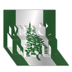 Flag Of Norfolk Island Miss You 3D Greeting Card (7x5)