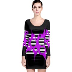 Purple abstraction Long Sleeve Bodycon Dress