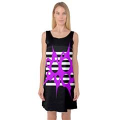 Purple abstraction Sleeveless Satin Nightdress