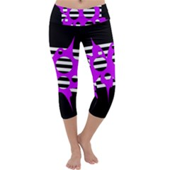 Purple abstraction Capri Yoga Leggings