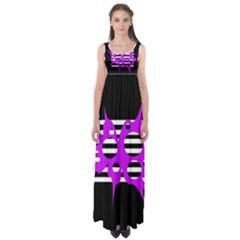 Purple abstraction Empire Waist Maxi Dress