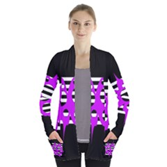 Purple abstraction Women s Open Front Pockets Cardigan(P194)