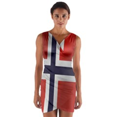 Flag Of Norway Wrap Front Bodycon Dress