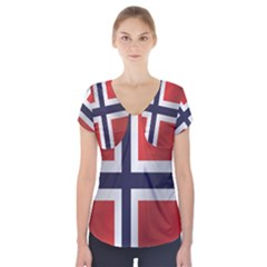 Flag Of Norway Short Sleeve Front Detail Top