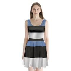 Flag Of Estonia Split Back Mini Dress
