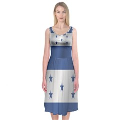 Flag Of Honduras Midi Sleeveless Dress
