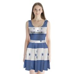 Flag Of Honduras Split Back Mini Dress