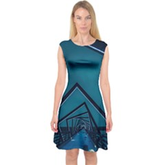Architecture Capsleeve Midi Dress