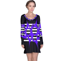 Blue abstract design Long Sleeve Nightdress