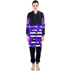 Blue abstract design Hooded Jumpsuit (Ladies)