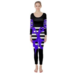 Blue abstract design Long Sleeve Catsuit