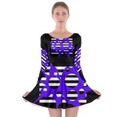 Blue abstract design Long Sleeve Skater Dress