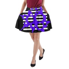 Blue abstract design A-Line Pocket Skirt