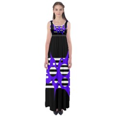 Blue abstract design Empire Waist Maxi Dress