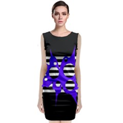 Blue Abstract Design Classic Sleeveless Midi Dress