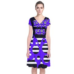 Blue Abstract Design Short Sleeve Front Wrap Dress