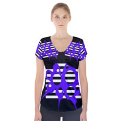 Blue Abstract Design Short Sleeve Front Detail Top