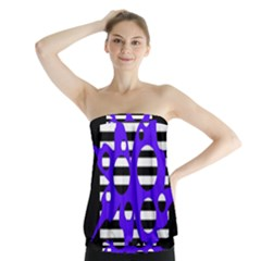 Blue Abstract Design Strapless Top
