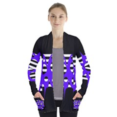 Blue abstract design Women s Open Front Pockets Cardigan(P194)