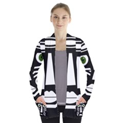 Mask Women s Open Front Pockets Cardigan(P194)