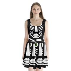 Mask Split Back Mini Dress
