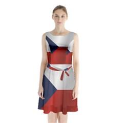 Flag Of Czech Republic Sleeveless Waist Tie Dress