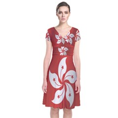 Flag Of Hong Kong Short Sleeve Front Wrap Dress