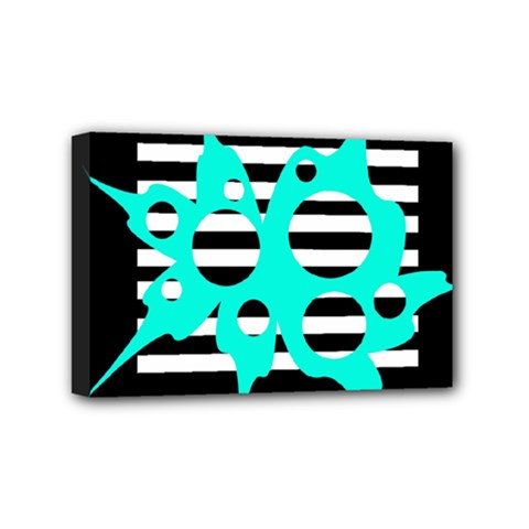 Cyan abstract design Mini Canvas 6  x 4