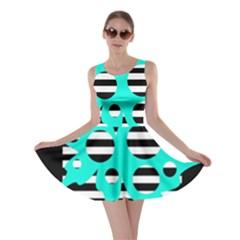 Cyan abstract design Skater Dress