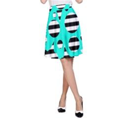 Cyan abstract design A-Line Skirt