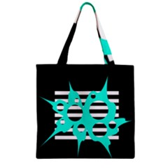 Cyan abstract design Zipper Grocery Tote Bag