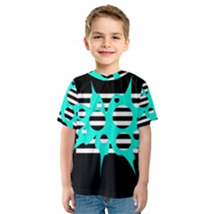 Cyan abstract design Kid s Sport Mesh Tee