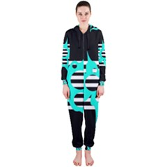 Cyan abstract design Hooded Jumpsuit (Ladies)