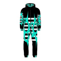 Cyan abstract design Hooded Jumpsuit (Kids)