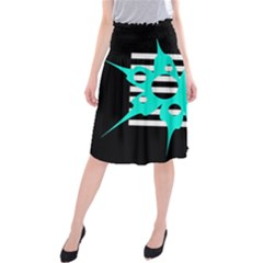 Cyan abstract design Midi Beach Skirt